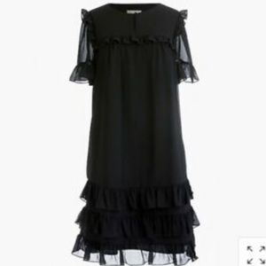J Crew Ruffle Dress in Crinkle Chiffon